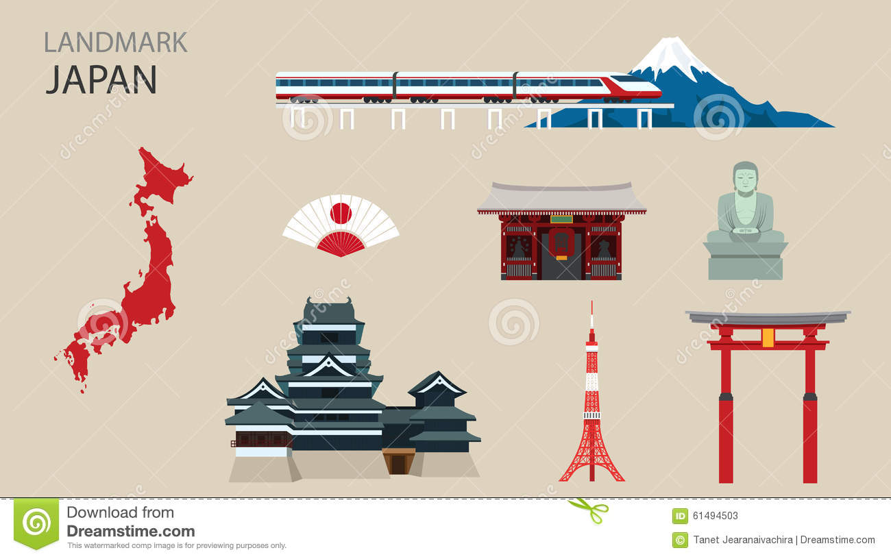 Flat Icons Design Landmark Japan Stock Vector Image