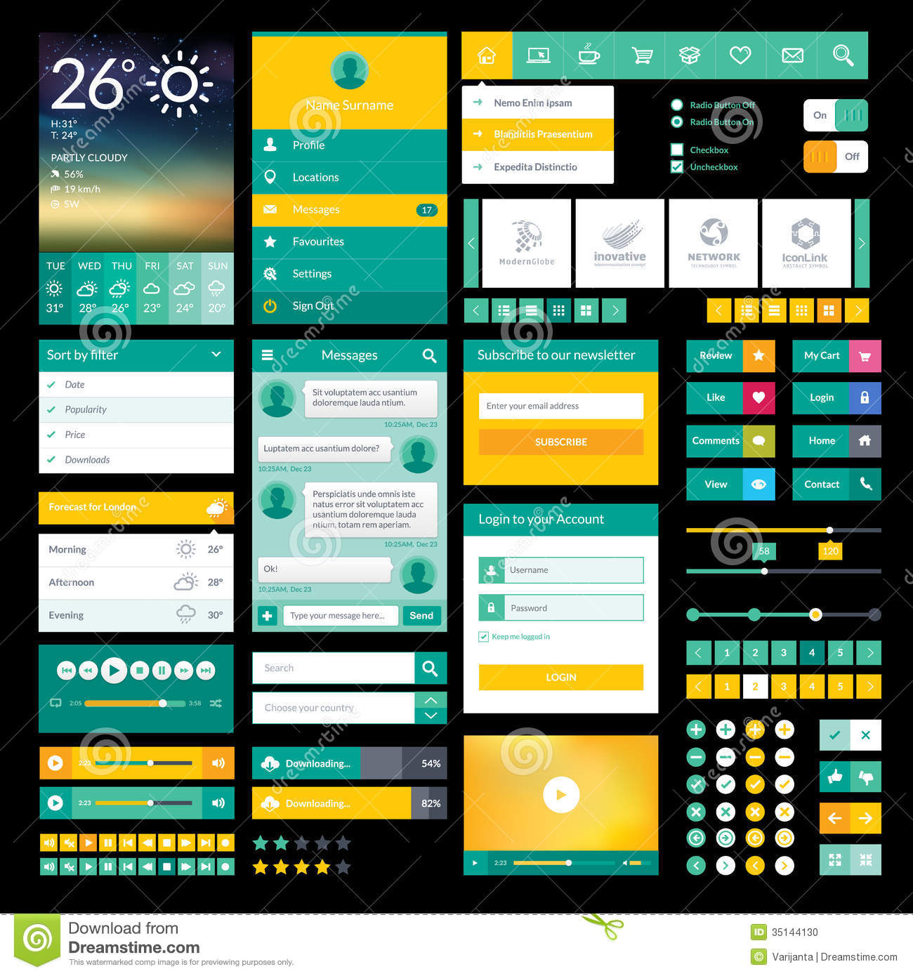 Flat icons and elements for mobile app and web des stock for Blueprint app free