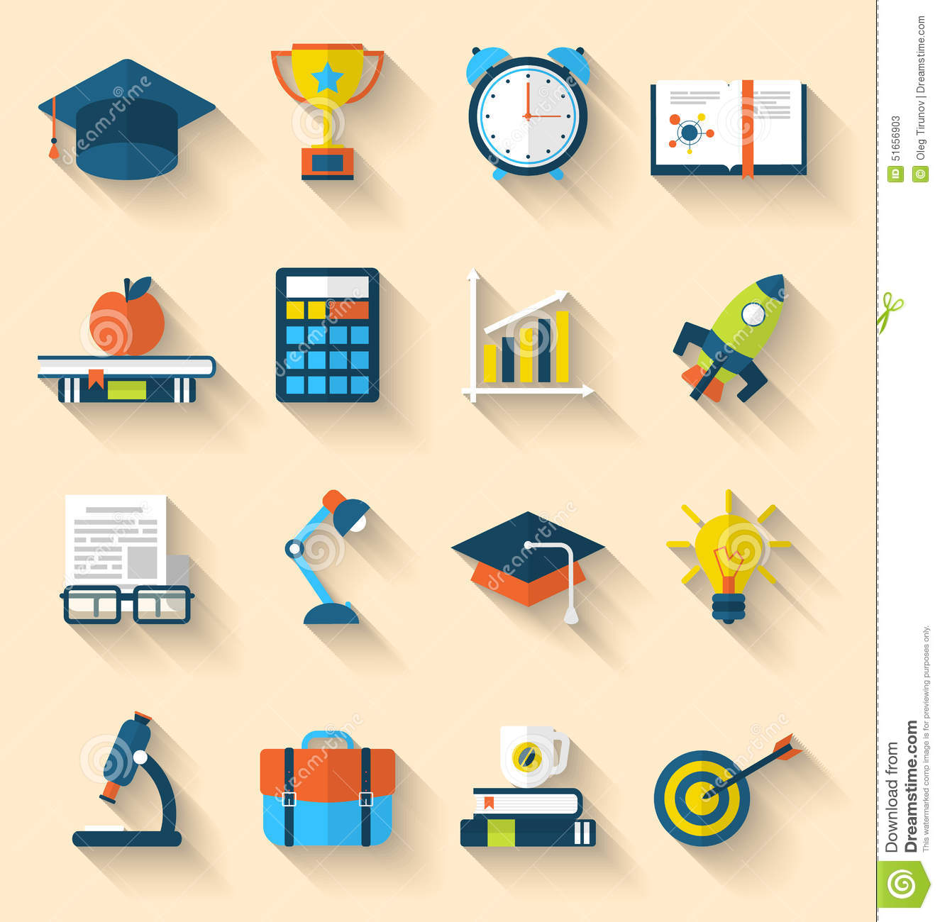 Flat Icons Of Elements And Objects For High School And