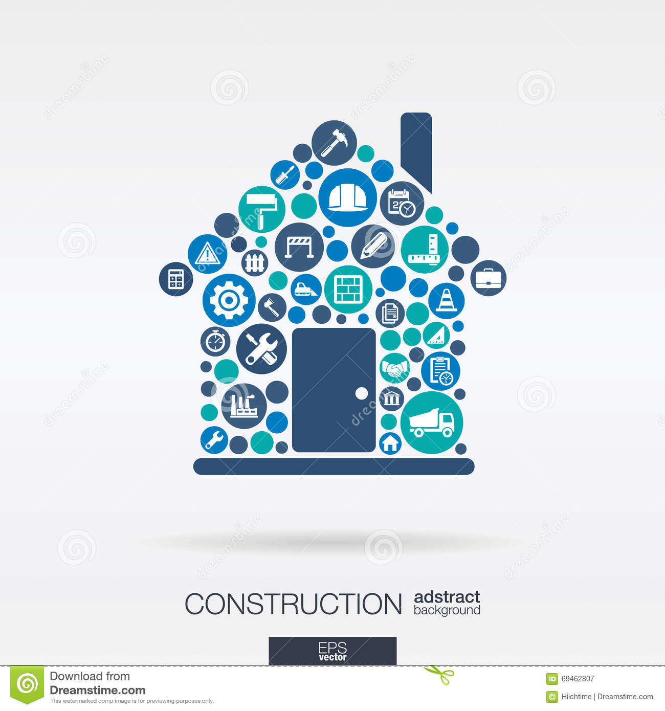 Flat Icons In A House Shape Construction Build Industry Architectural Engineering Concept