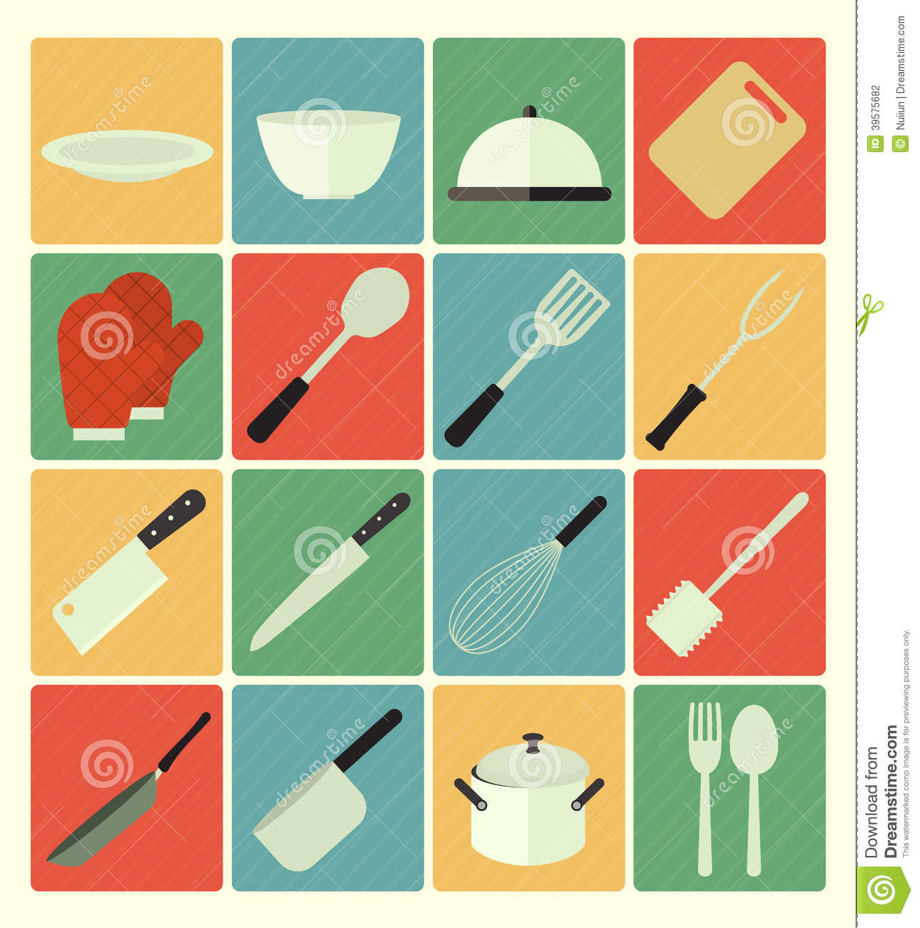 Flat icons kitchen set stock vector image 39575682 for Kitchen set vector