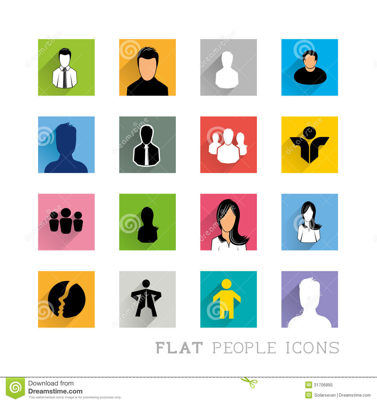 Flat Icons People Designs Royalty Free Stock Photo - Image: 31706895