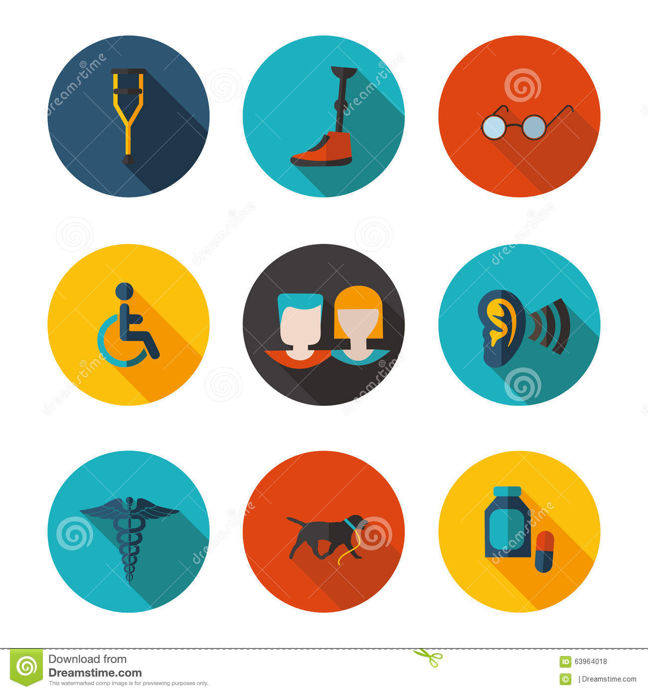 Flat Icons People With Disabilities Stock Illustration