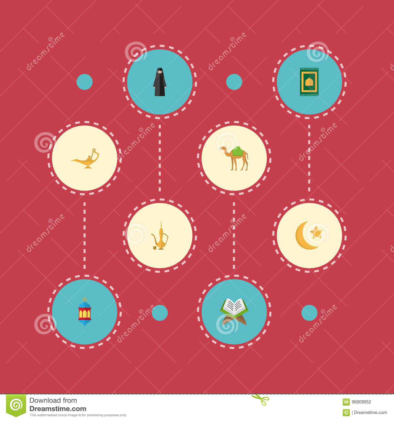 Flat Icons Prayer Carpet, Dromedary, Muslim Woman And Other Vector