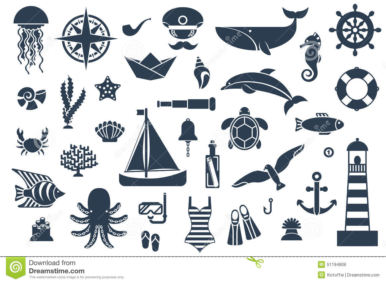 Stock Illustration Flat Icons Sea Creatures Symbols Vector Illustration Marine Leisure Sport Nautical Design Elements Image51194806 on Stock Illustration Fish Silhouette