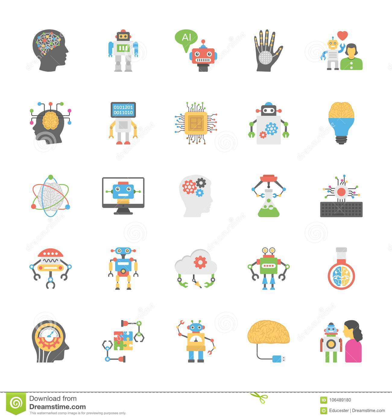 Flat Icons Set Of Artificial Intelligence Stock Illustration