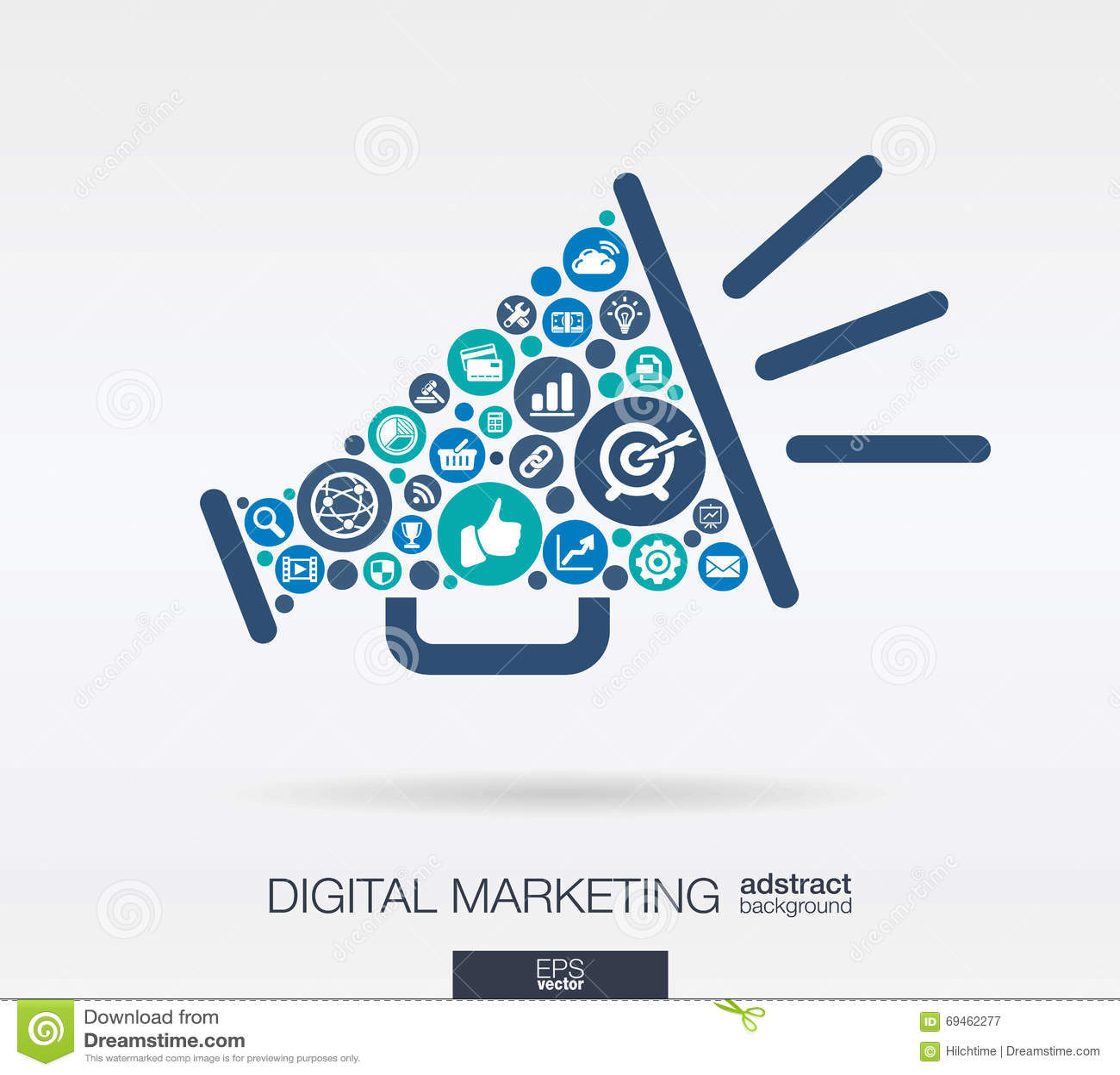 Flat icons in a speaker shape, digital marketing, social media, network, computer concept