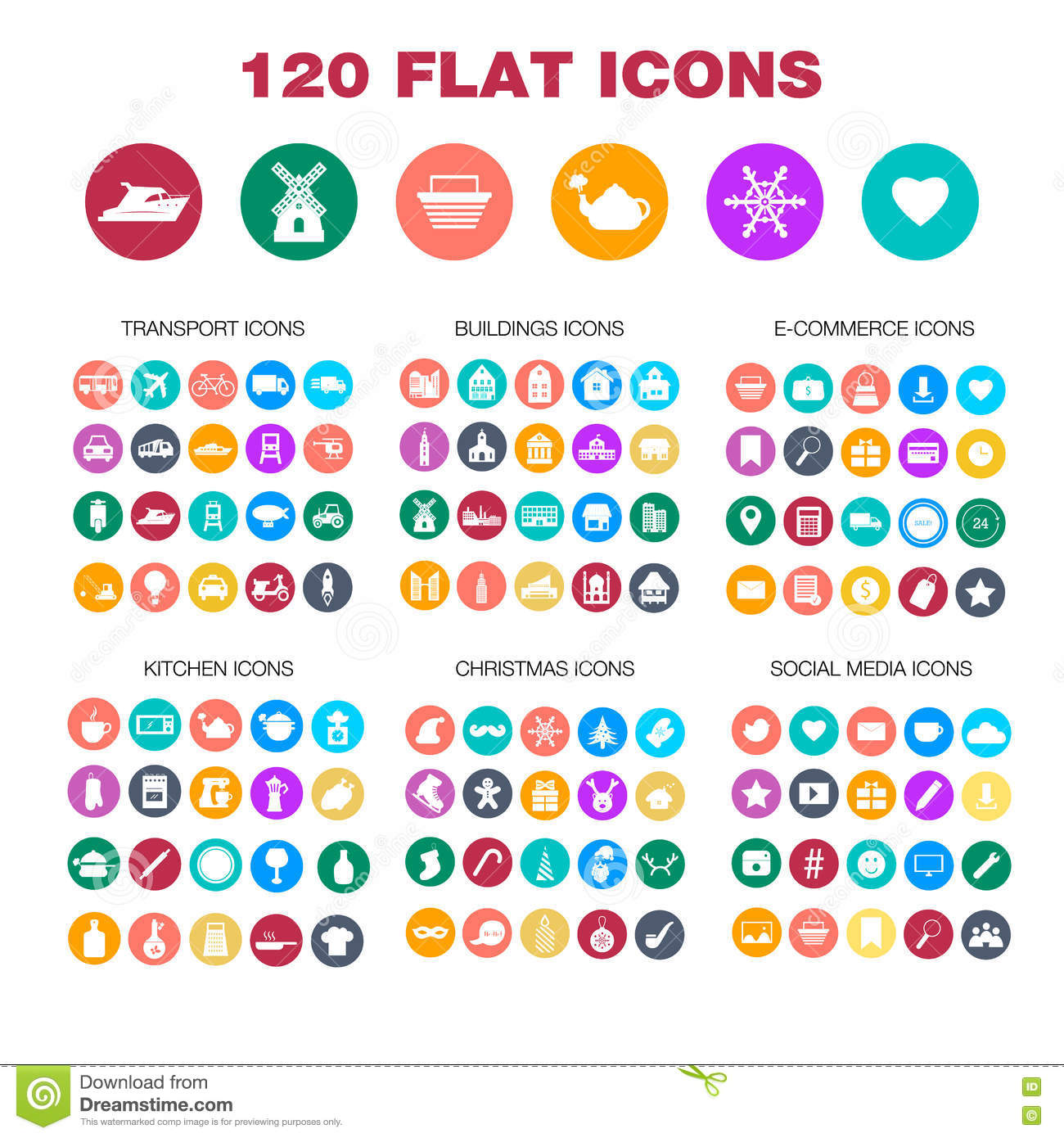 120 Flat Icons. Transport, Buildings, E-commerce, Kitchen Stock ...
