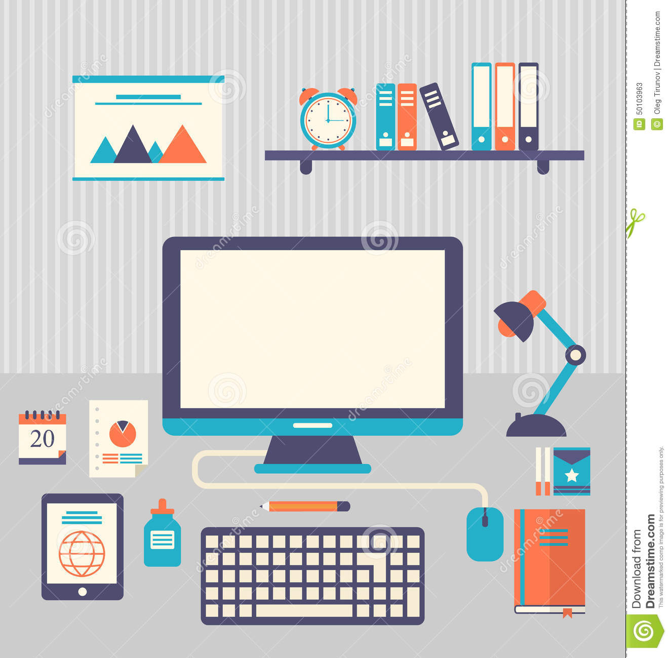 flat icons of trendy everyday objects office supplies and