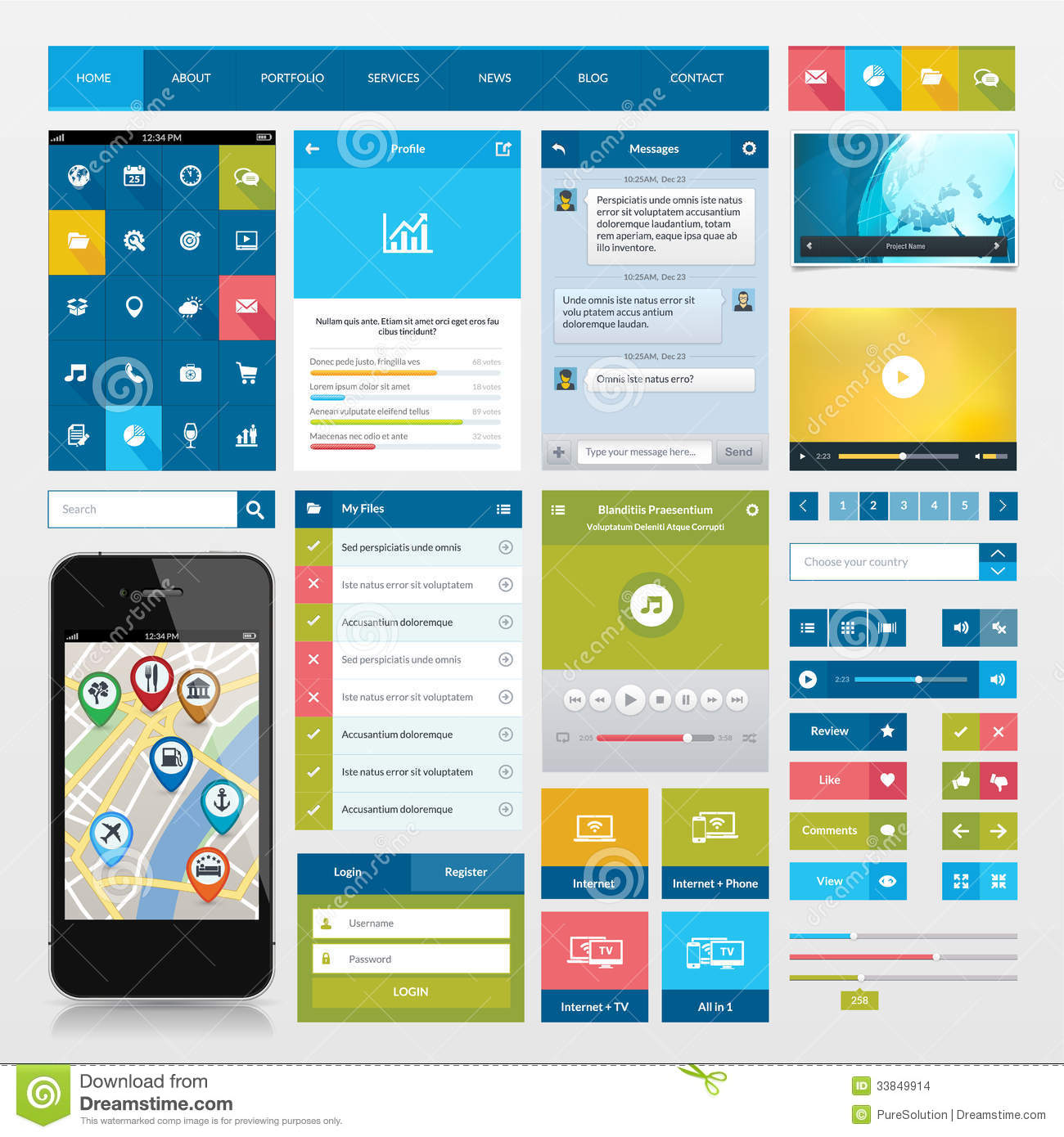 Flat Icons And Ui Web Elements For Mobile App And Stock Images ...