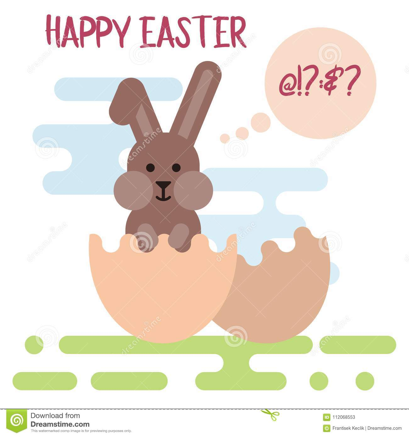 Flat Illustration Of Confused Easter Bunny In The Cracked Egg Shell ...