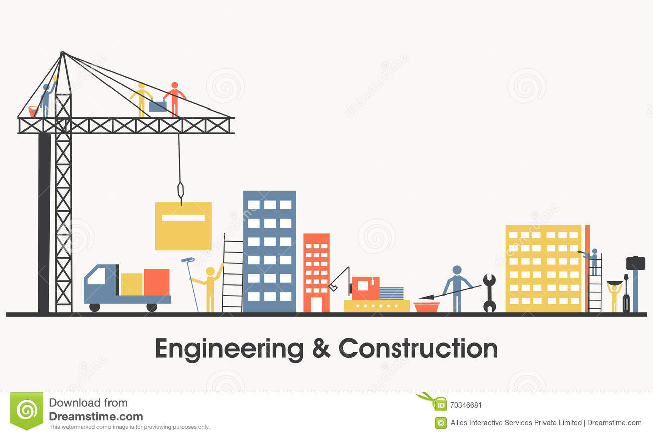 Flat illustration of engineering and construction stock for Construction moderne