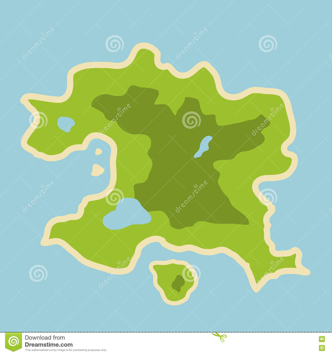 Flat Illustration Of Fantasy Map Of Fictional Island In ...