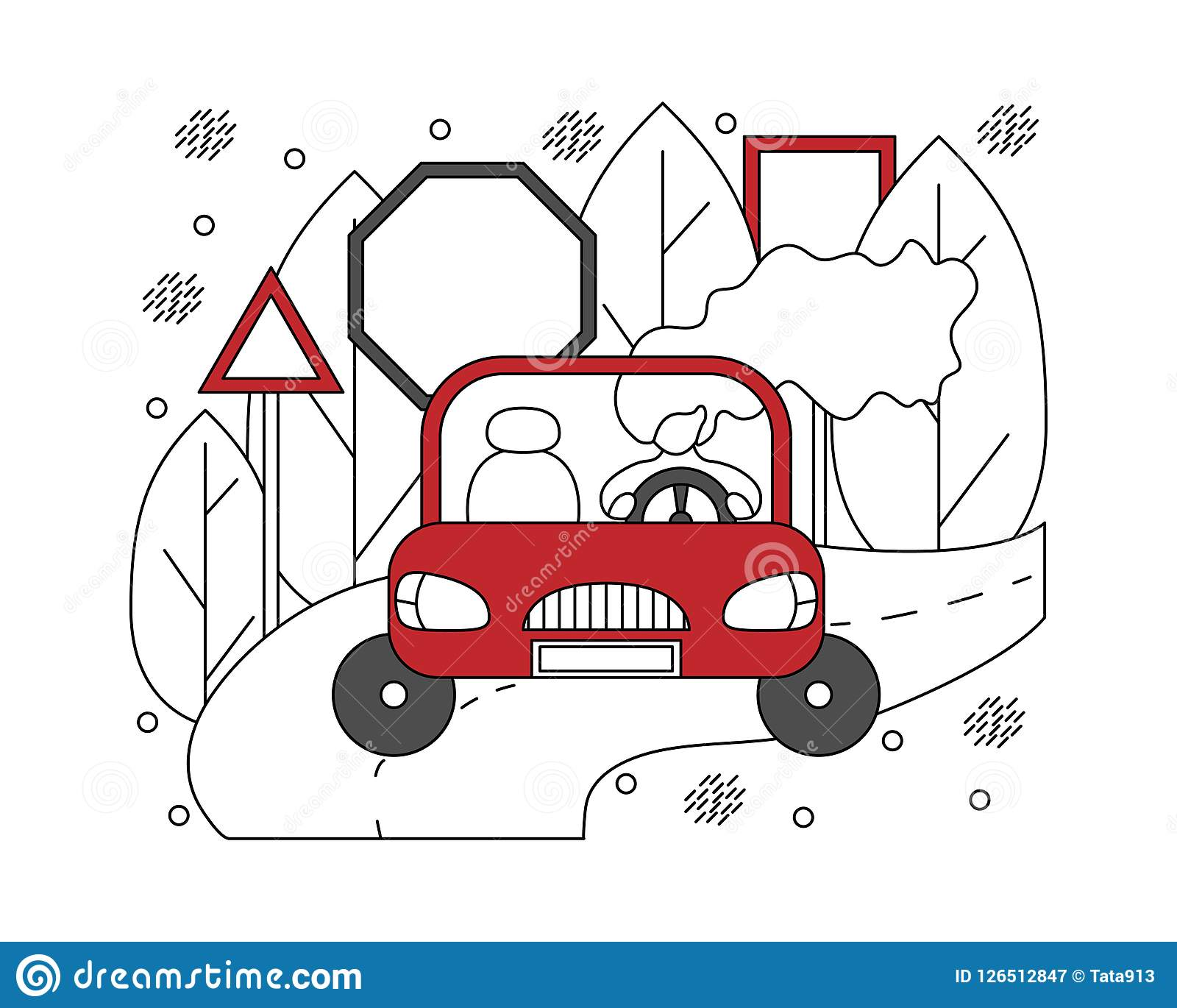 Flat illustration in lines with girl in a car. Automotive concep