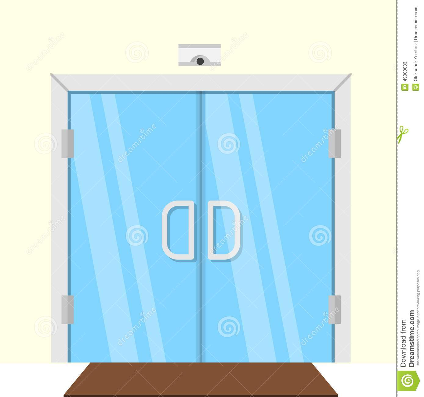 1300 #0586C6  Illustration Of Transparent Glass Door Stock Vector Image: 49000033 picture/photo Commercial Building Entry Doors 45391389