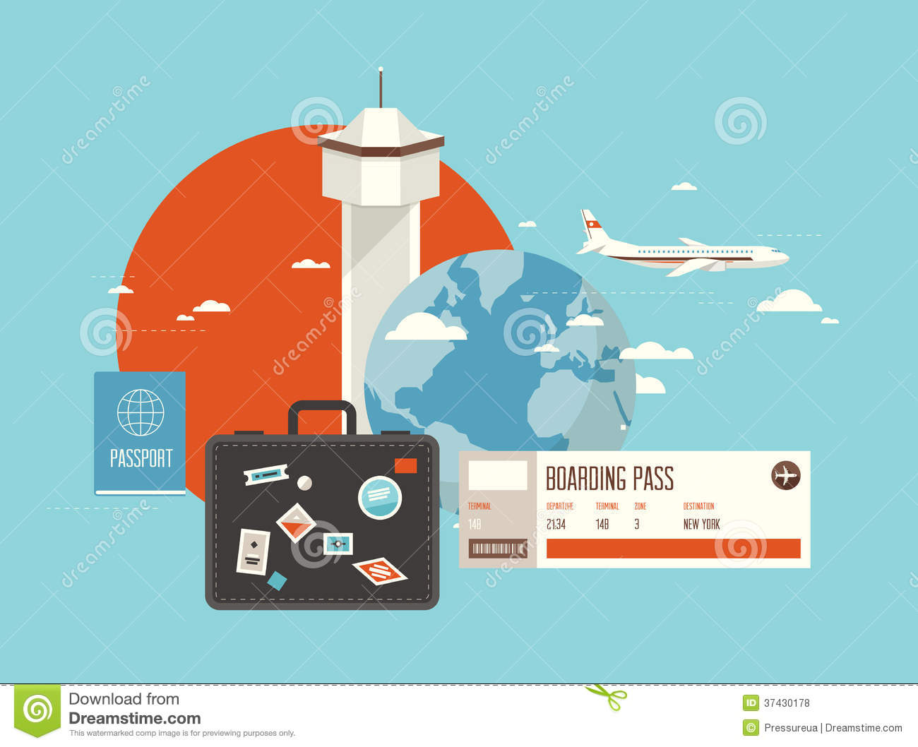 Flat Illustration Of Travel On Airplane Stock Vector