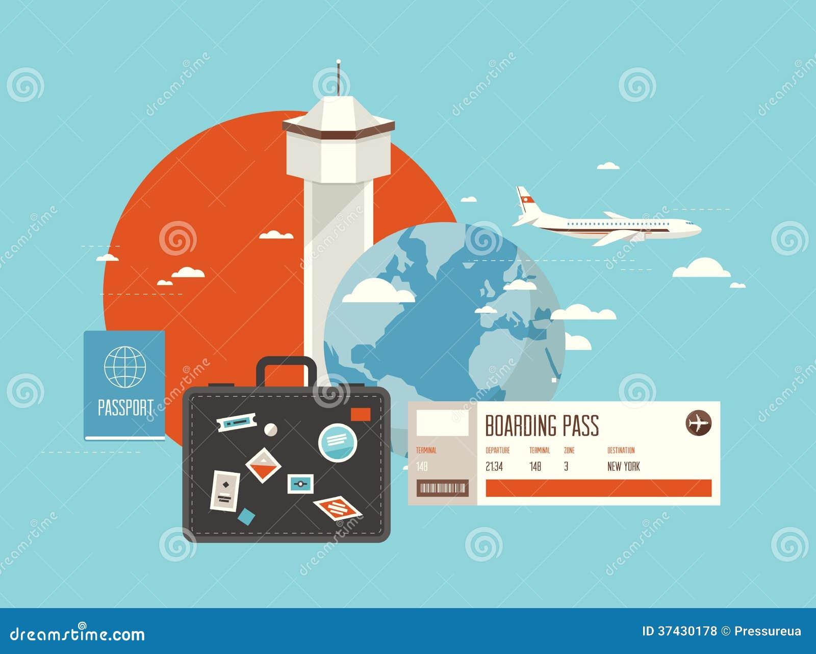 Flat Illustration Of Travel On Airplane Royalty Free Stock