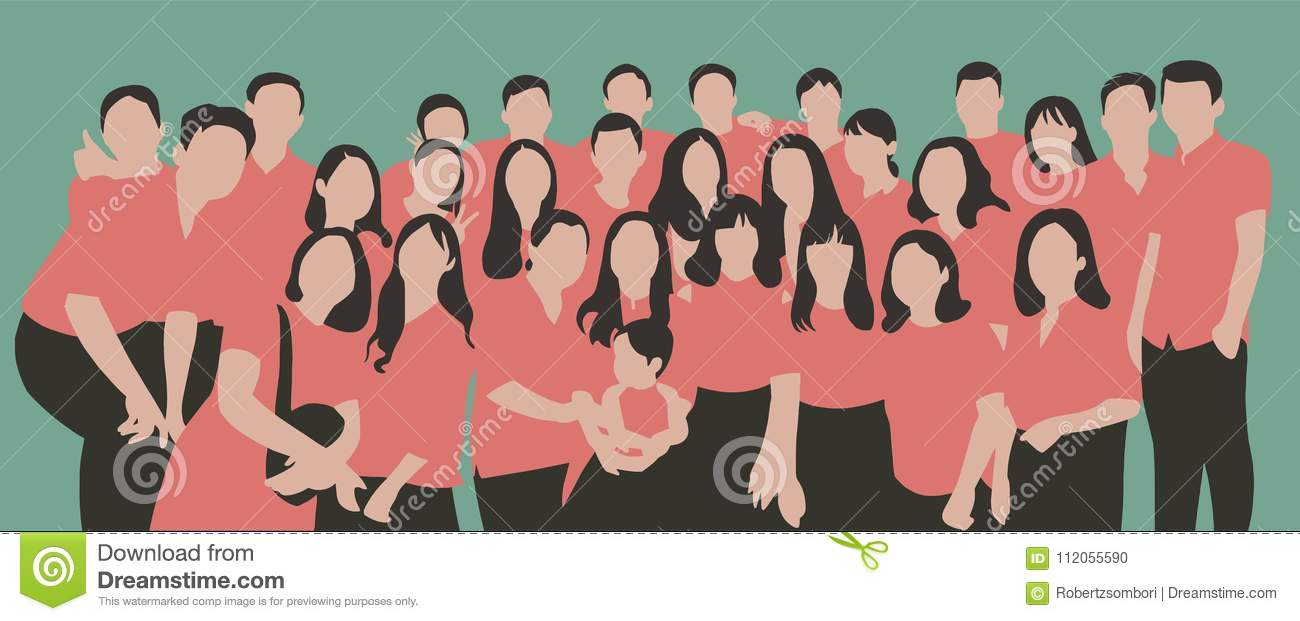 flat illustration of young people friends classmates students