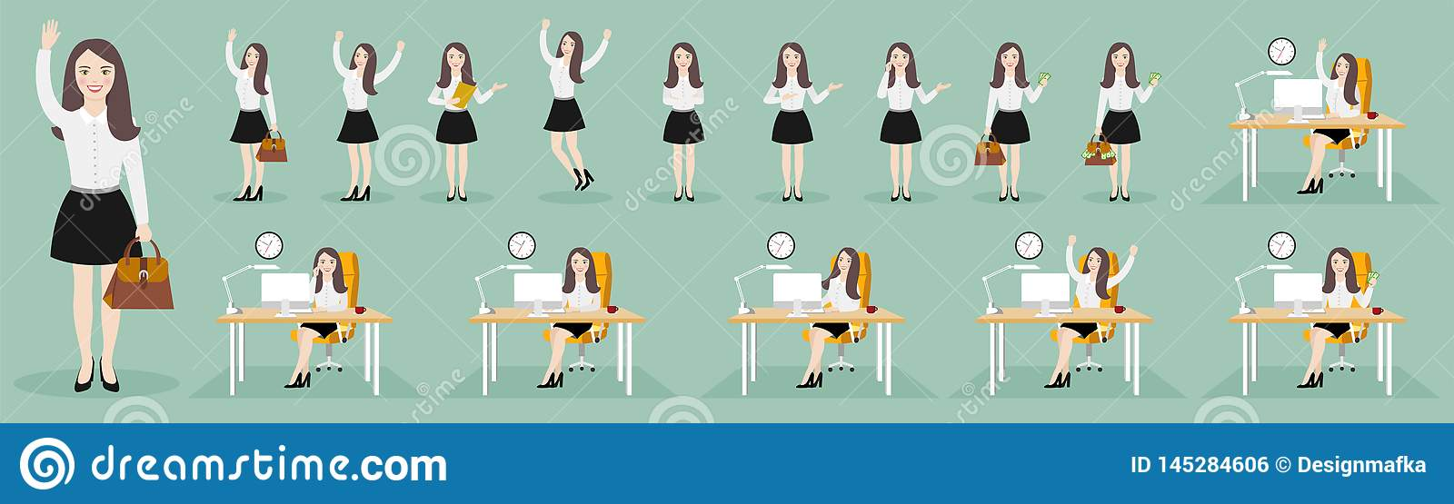 Flat illustrations of business woman character in various poses.
