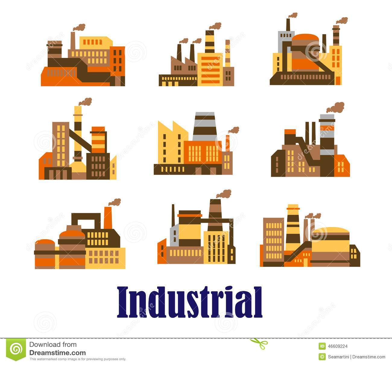 flat industrial icons of plants and factories stock vector