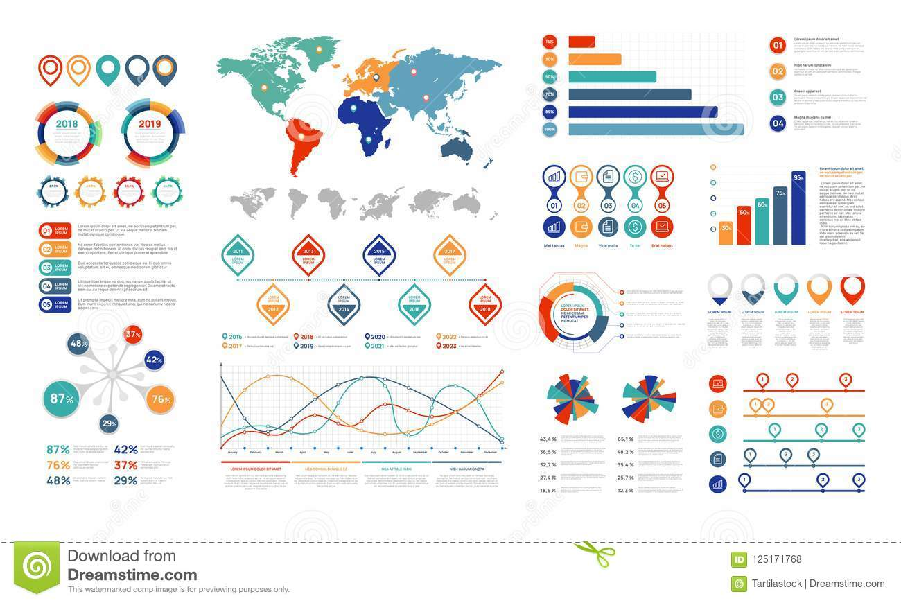 Flat infographic elements. Presentation chart element, percent graph banner and infograph flowchart. Charts for