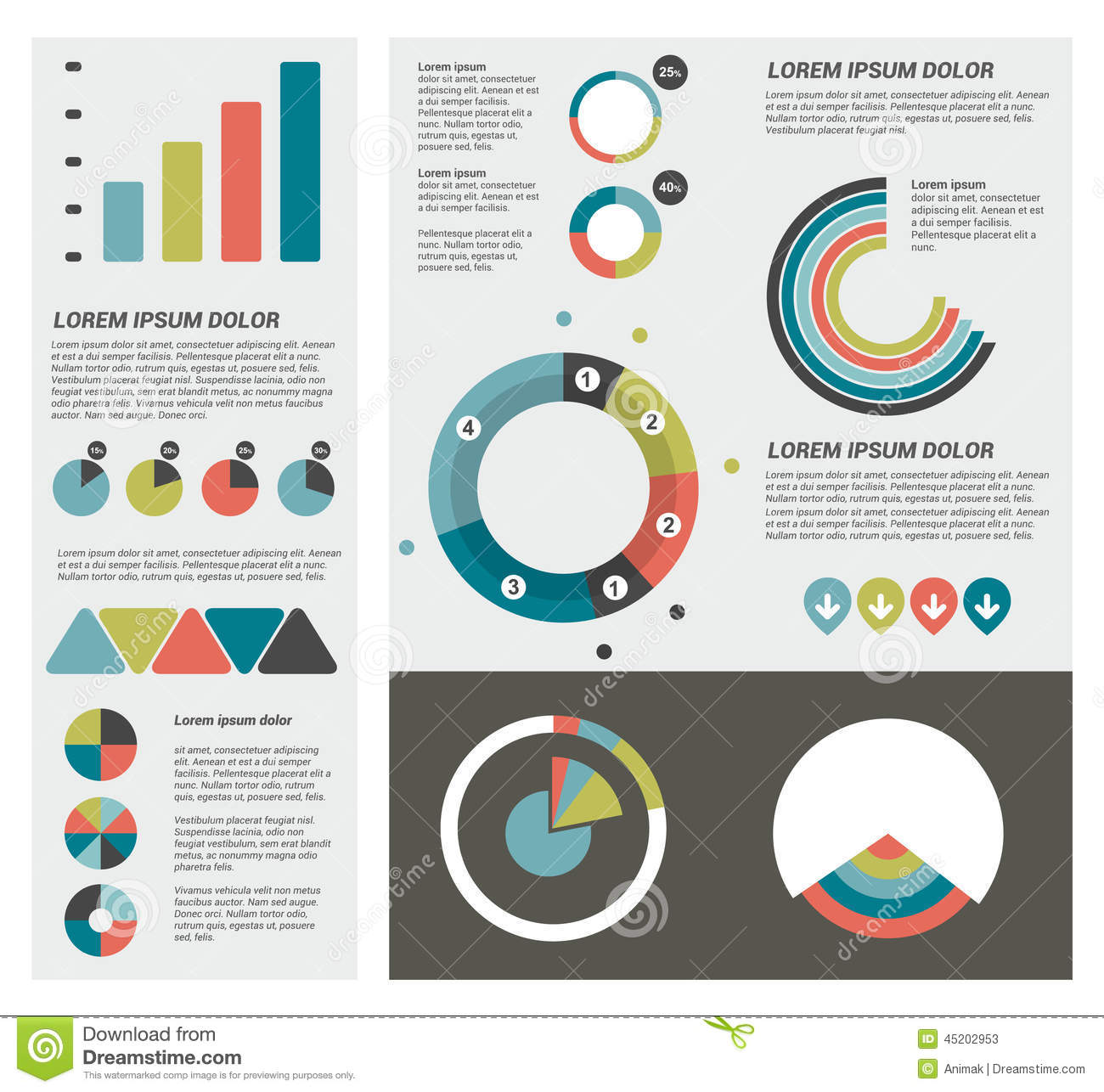 Flat infographic set of charts bubbles diagrams stock vector flat infographic set of charts bubbles diagrams pooptronica