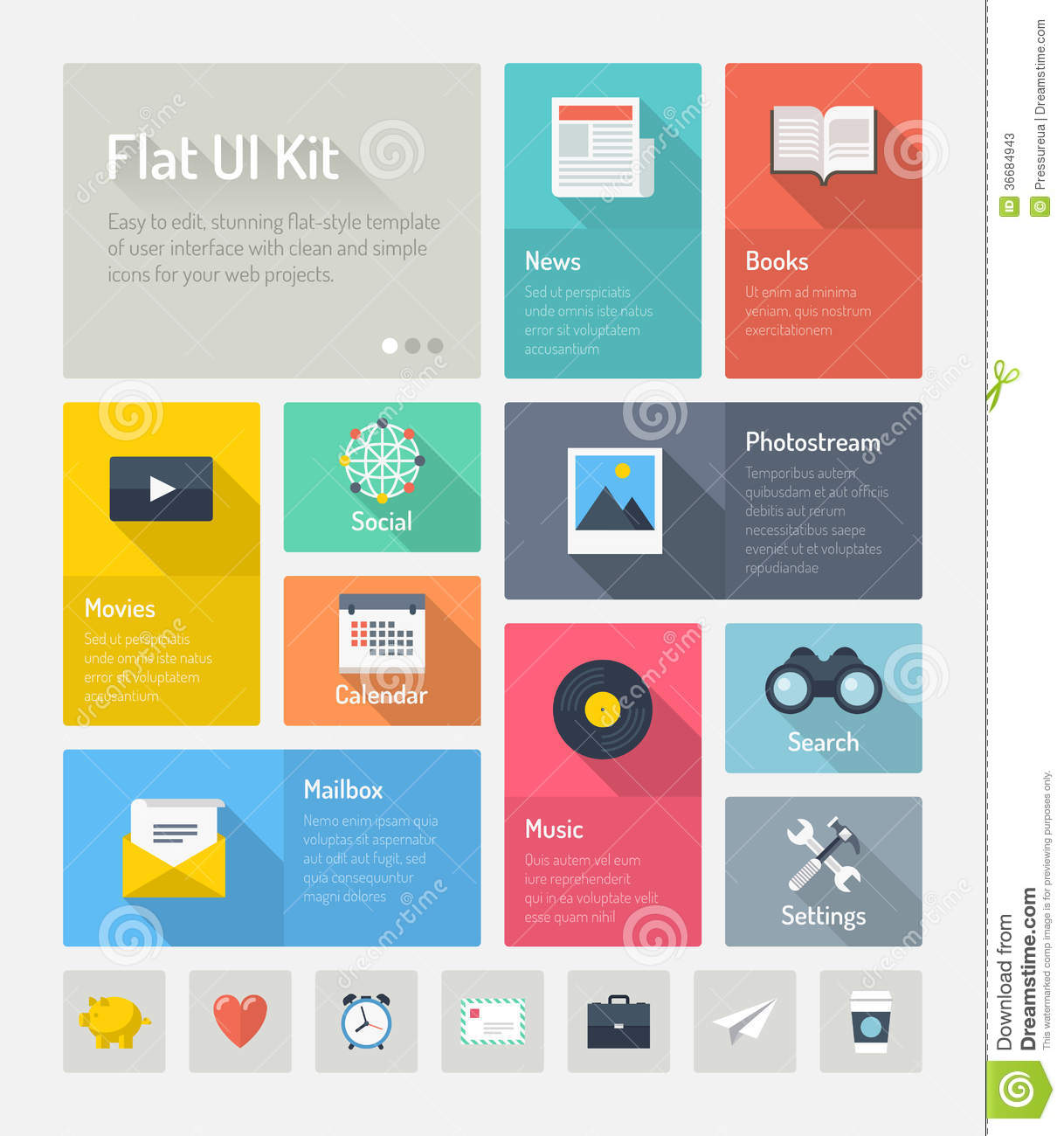 Flat Infographic Website User Interface Concept Stock