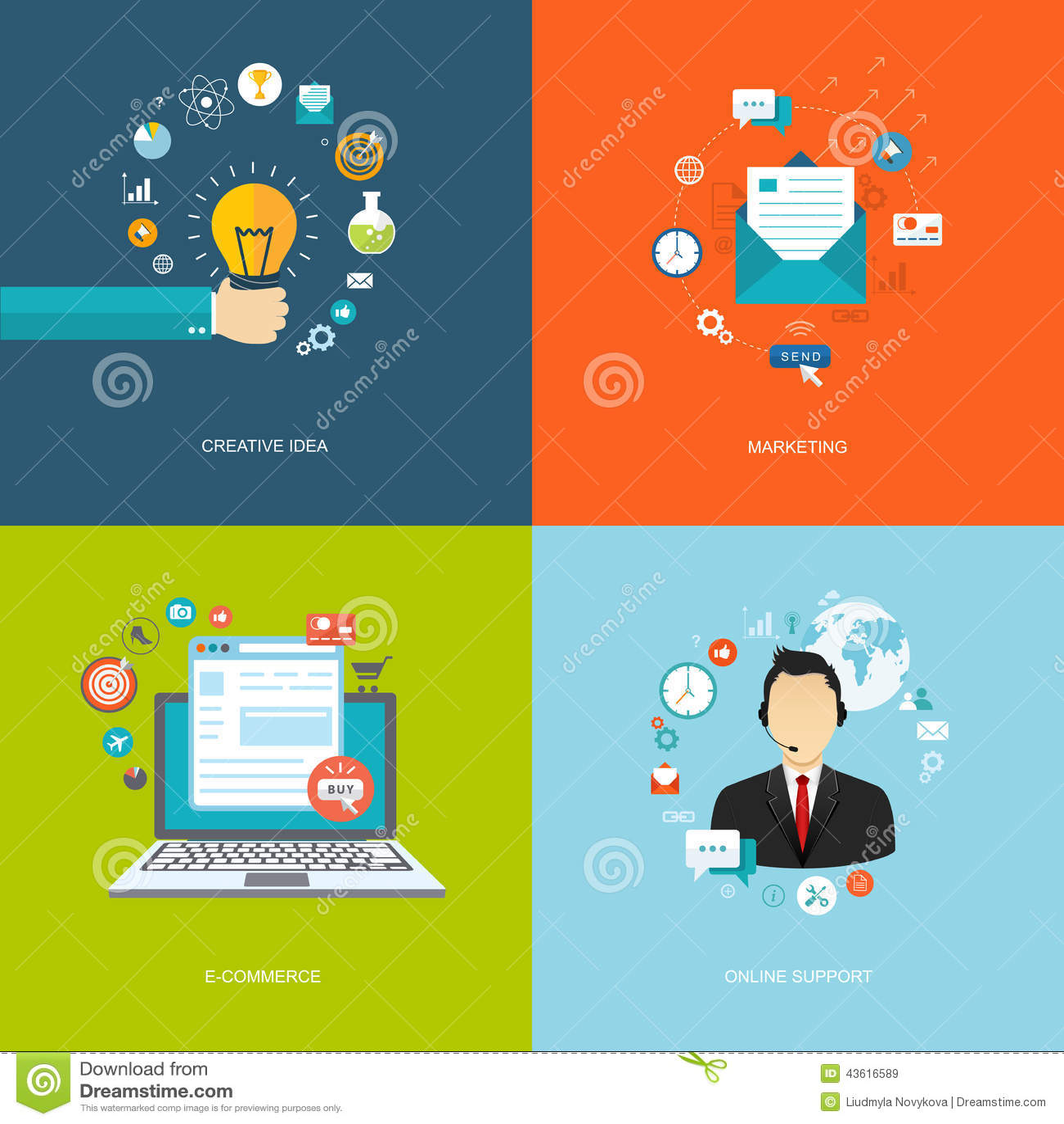 Flat internet banners set creative idea marketing e for Idee online