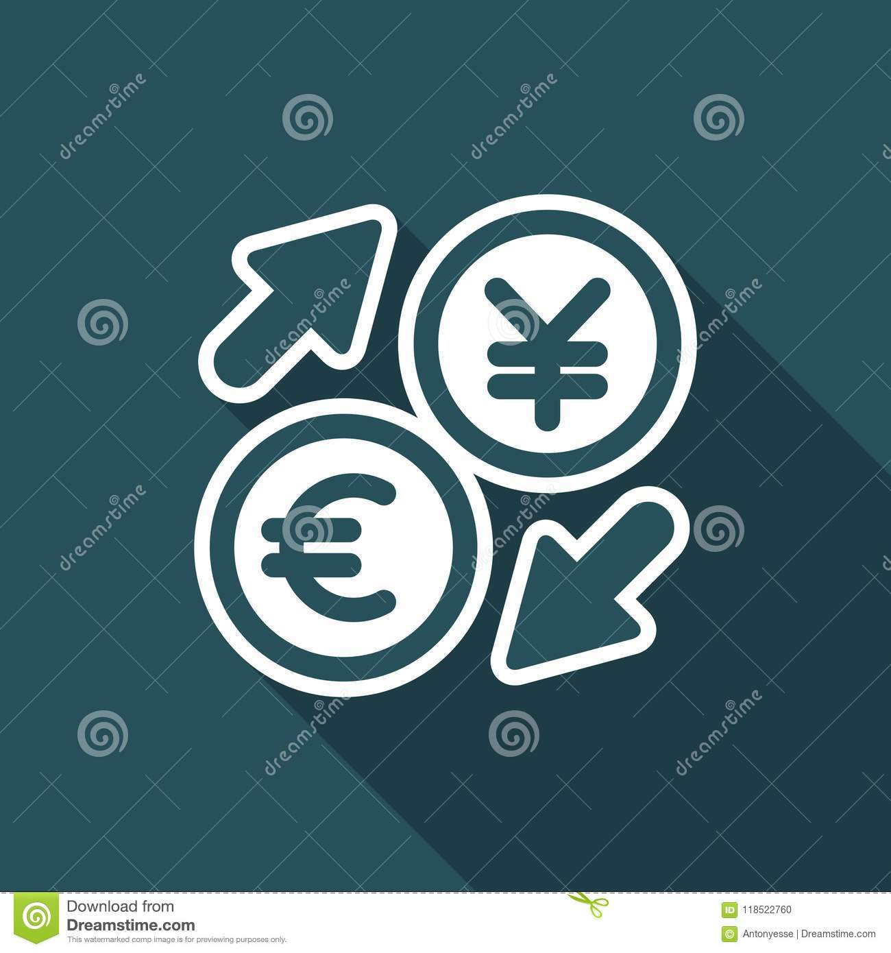 Euro/Yuan - Foreign Currency Exchange Icon Stock Vector