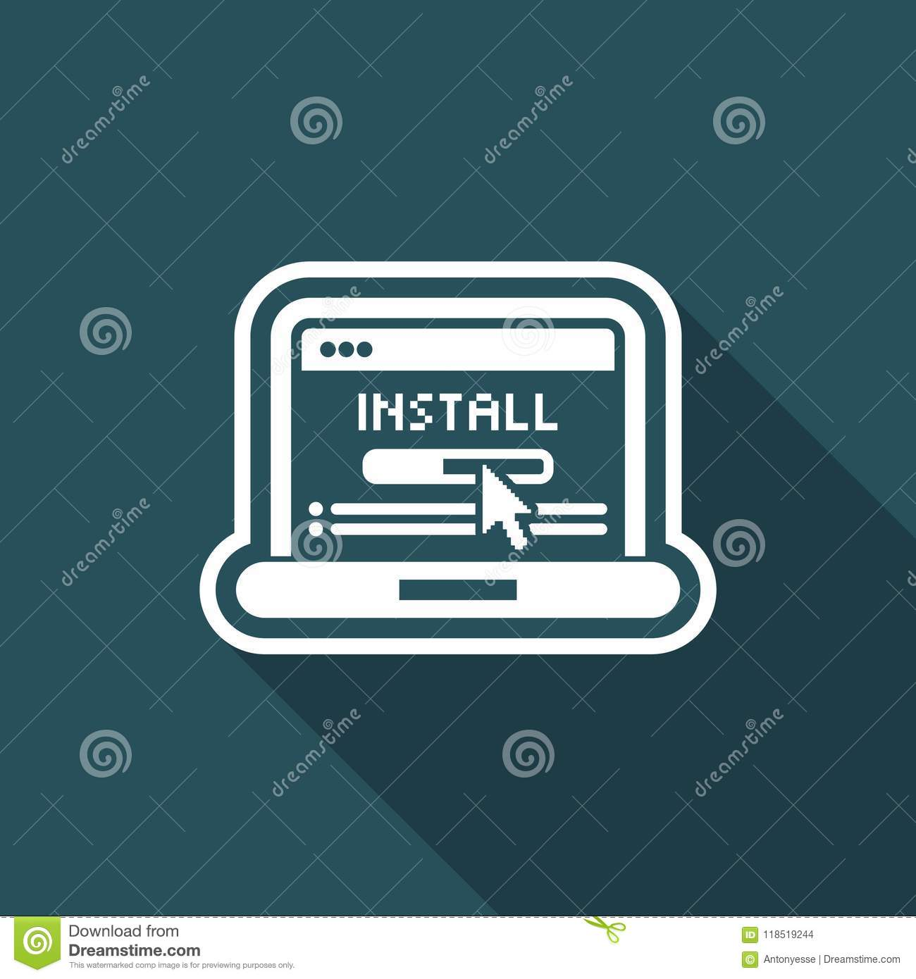 Pc install icon stock vector  Illustration of computer