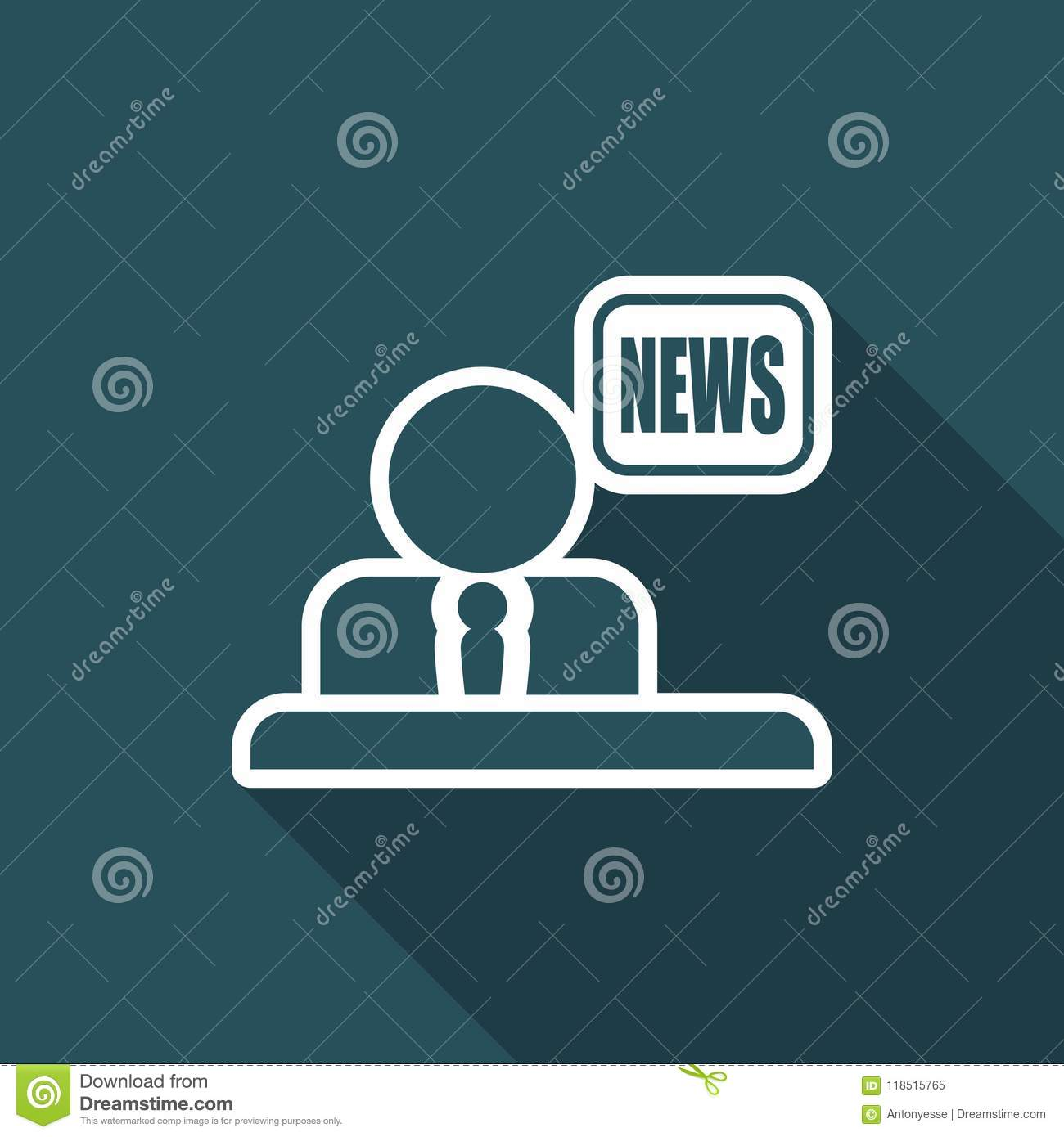 Vector Illustration Of Single Isolated Tv News Icon Stock Vector