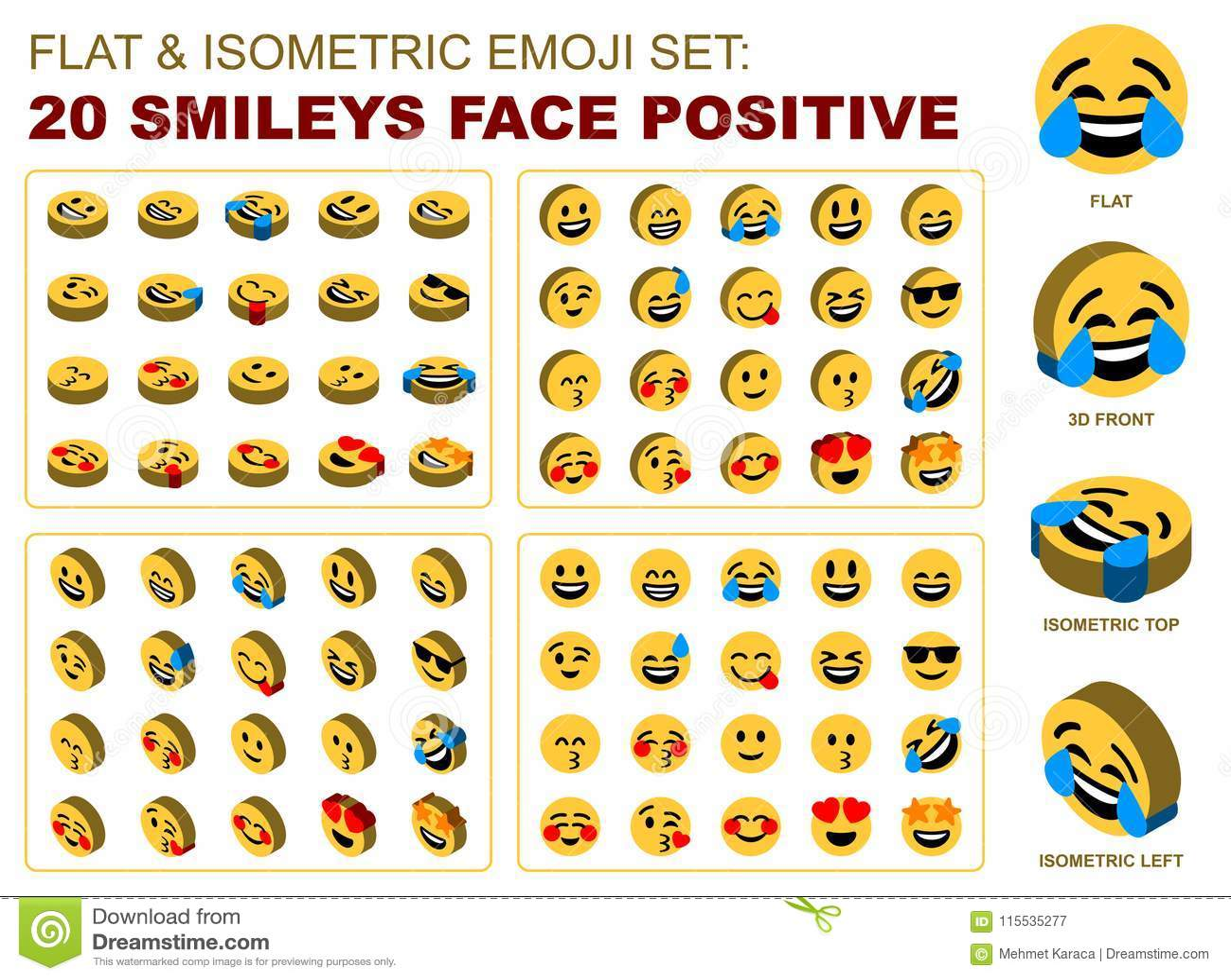 Flat Isometric Emoji Set Smileys Face Positive