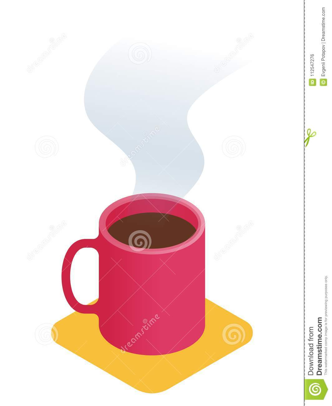 Flat Isometric Illustration Of Cup Of Coffee. Office Vector Conc ...