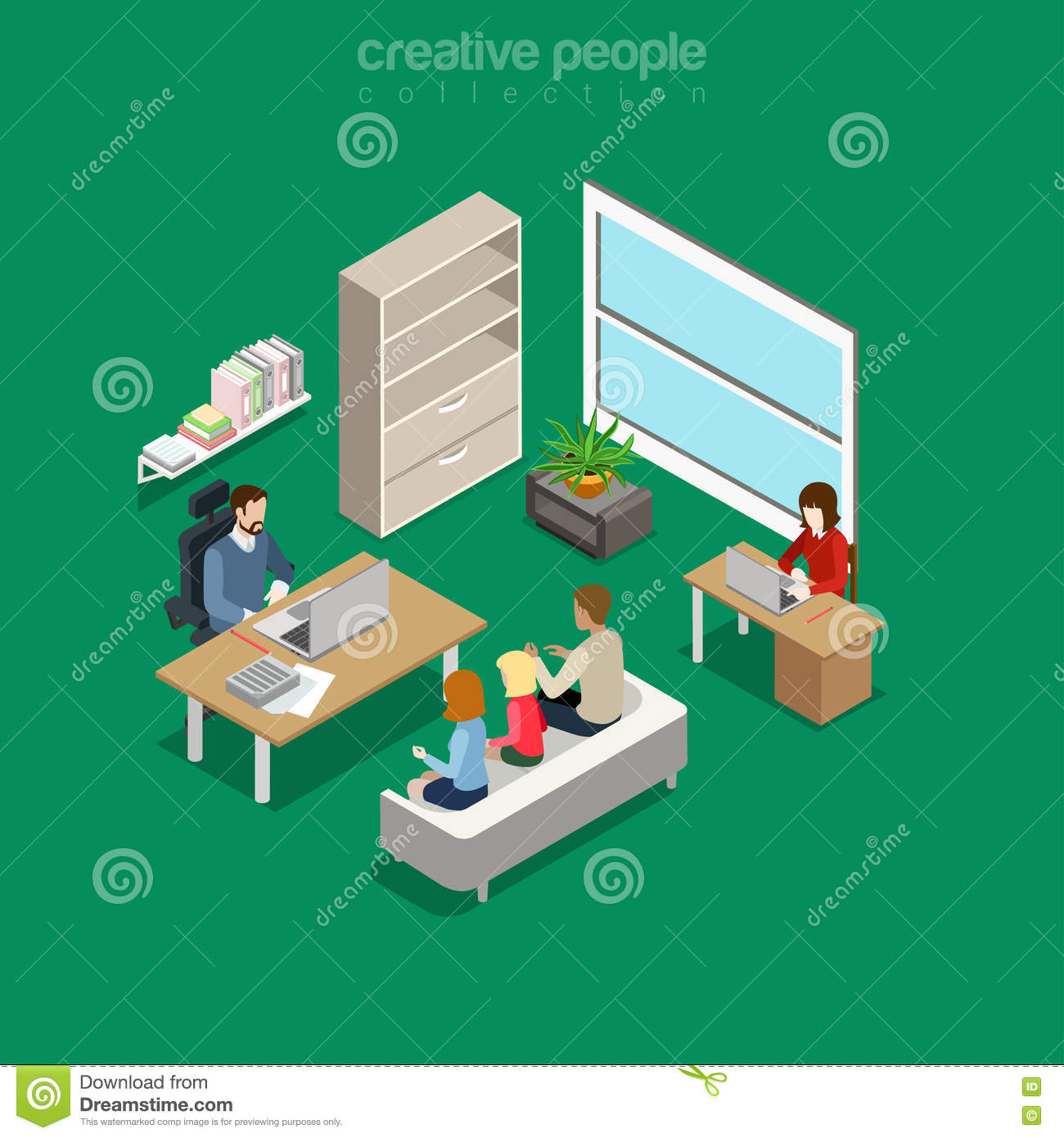 Flat Isometric Intra-office Meeting Boss Office Ve Stock Vector ...