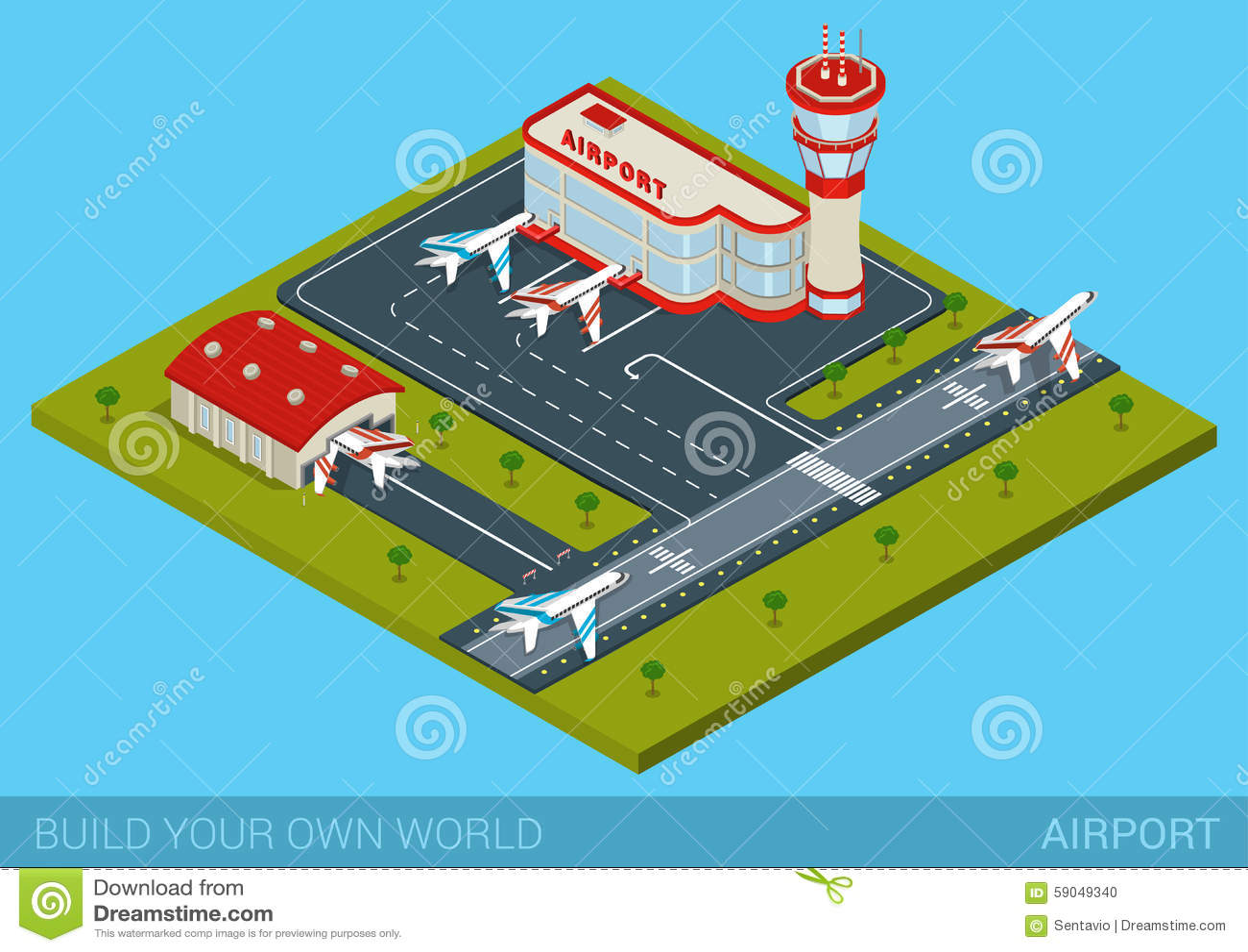 Flat isometric style airport building, hangar, runway, airplanes