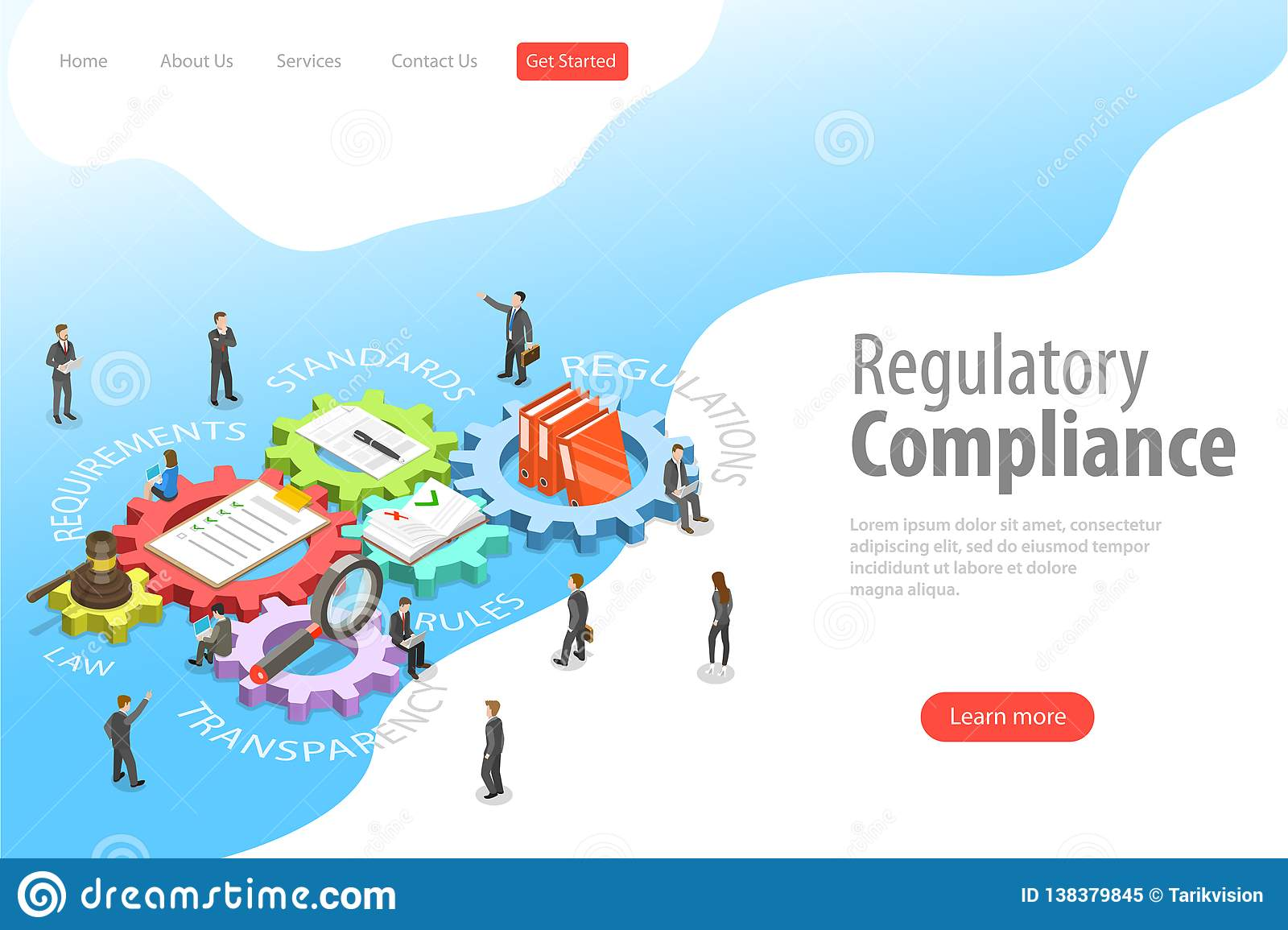 Flat isometric vector landing page template of regulatory compliance.