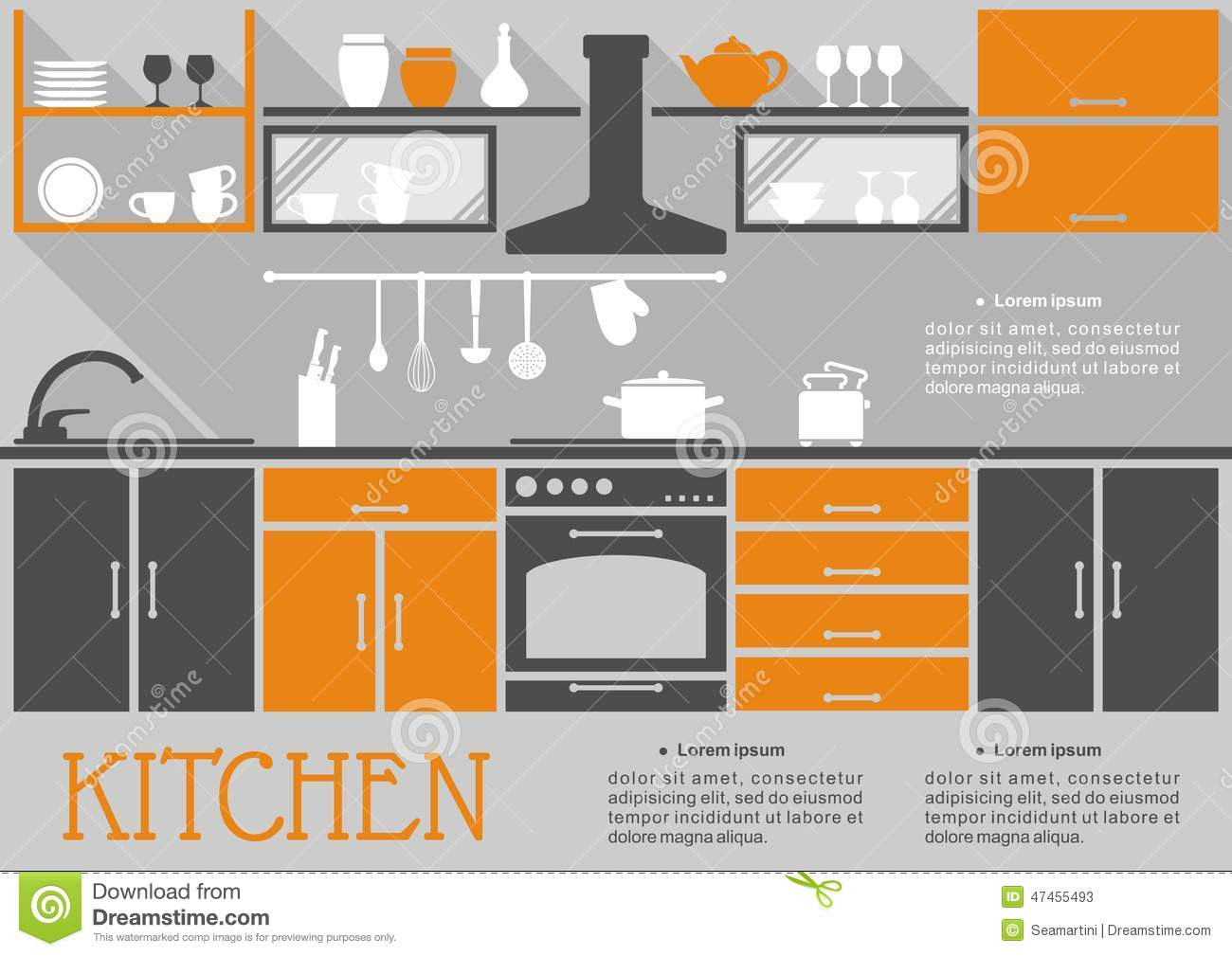Flat Kitchen Interior Design Stock Vector Image 47455493
