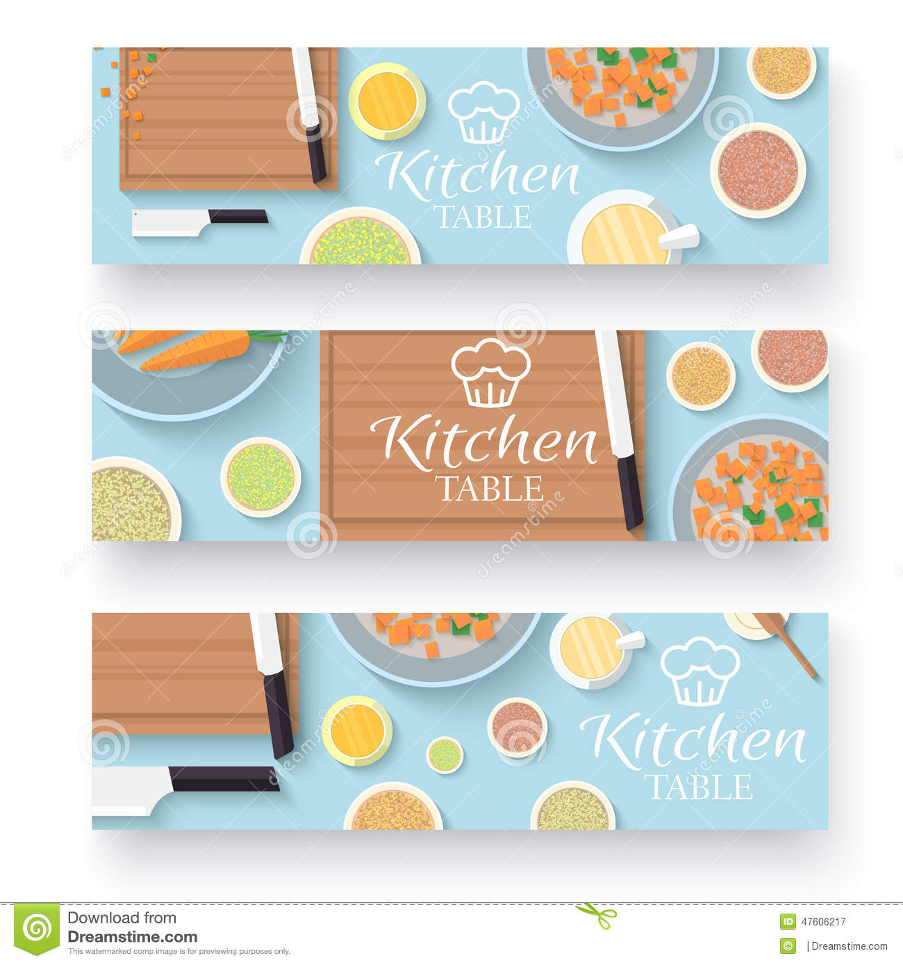 Flat kitchen table for cooking in house banners stock for Kitchen design vector