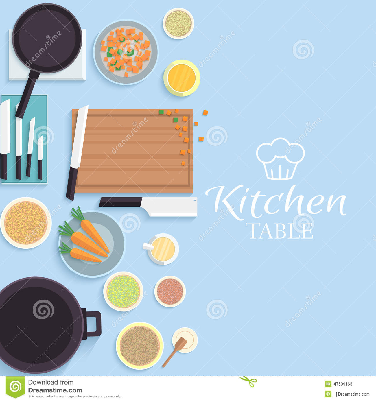 Flat kitchen table for cooking in house vector stock for Kitchen design vector
