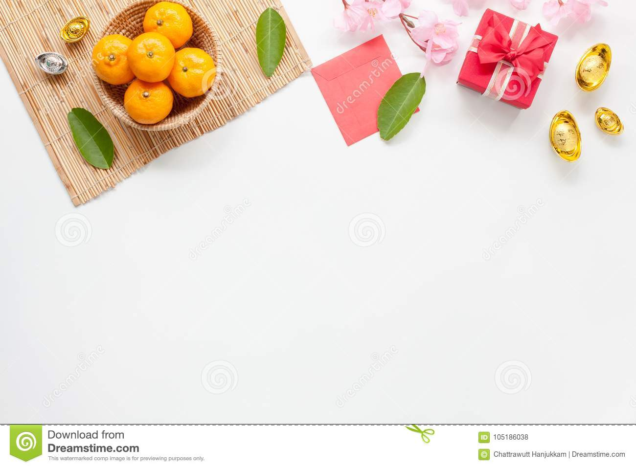flat lay of accessories chinese new year and decorations lunar new year festival concept background