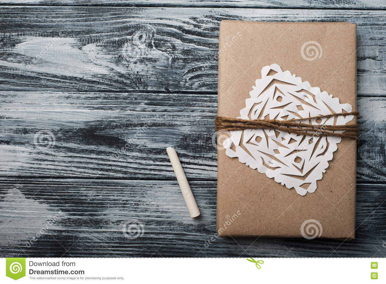 Flat Lay Background With Christmas Gift Stock Photo