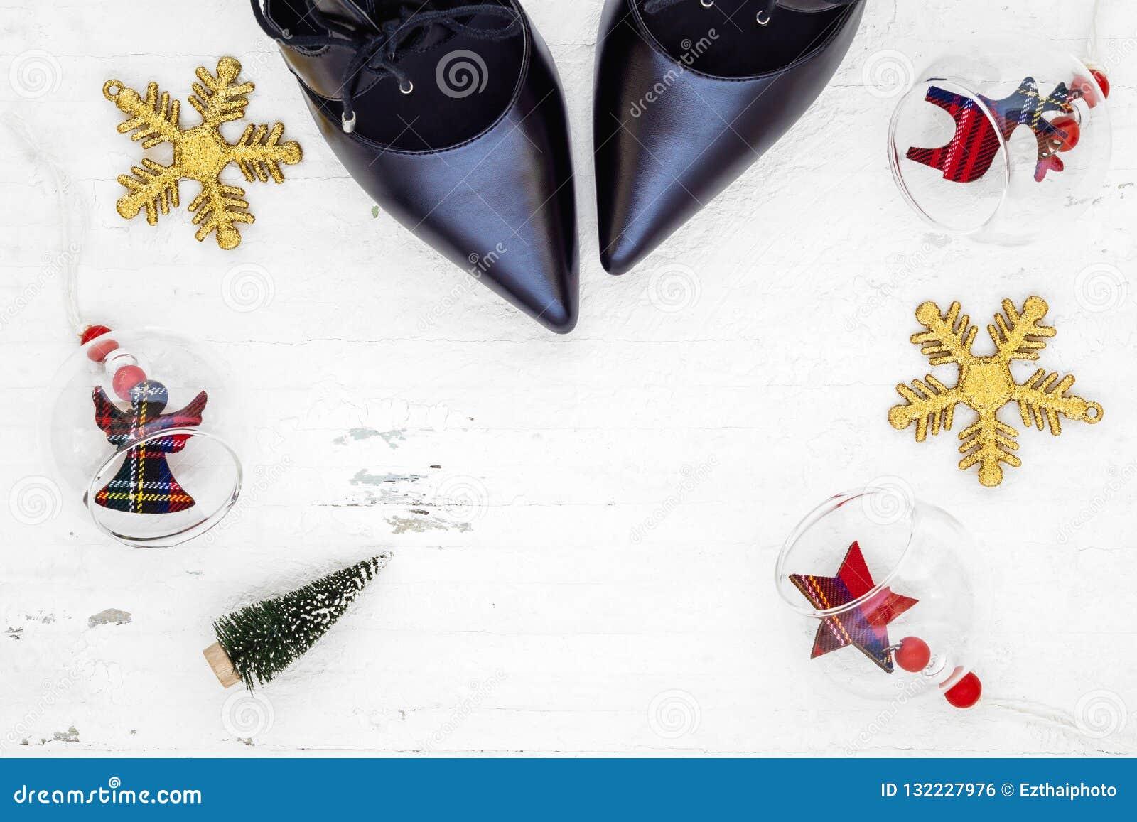 Flat Lay Black High Heel Shoes Mini Christmas Tree And Christmas