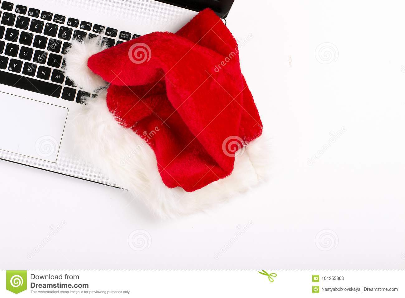 Flat Lay Of Christmas Gift With Laptop Top View On White Background ...