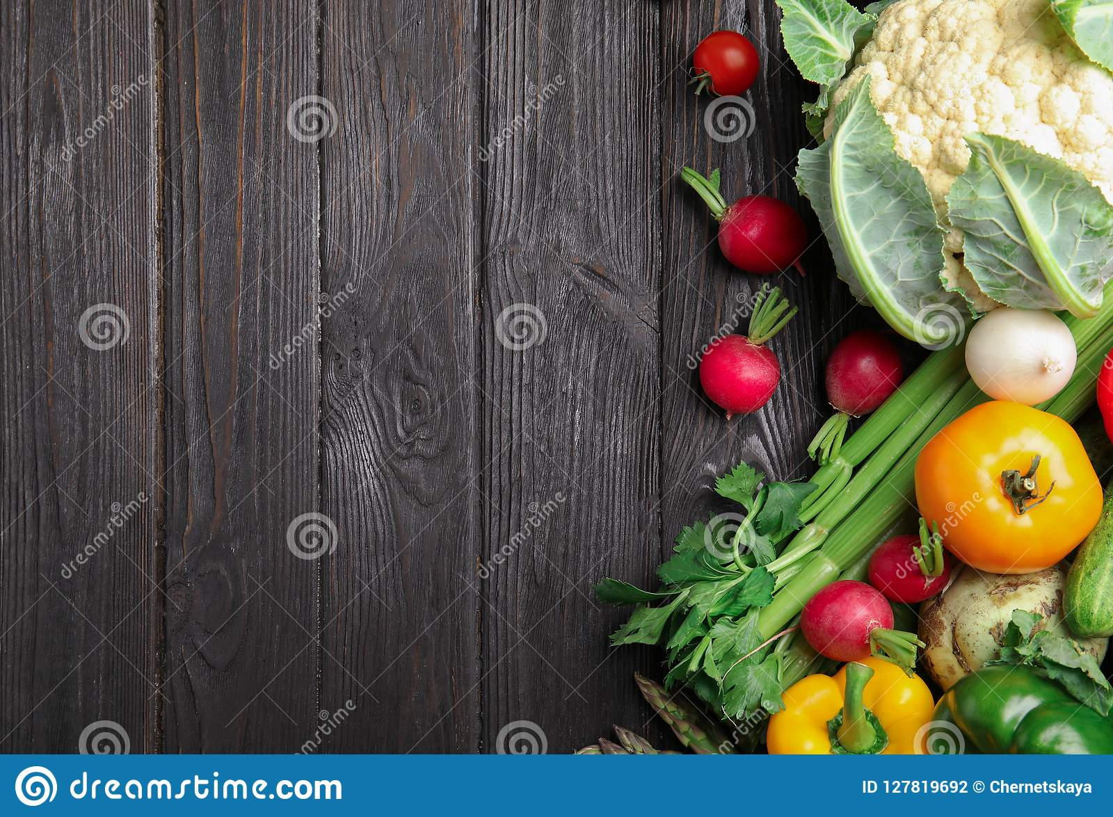 Flat lay composition with assortment of fresh vegetable