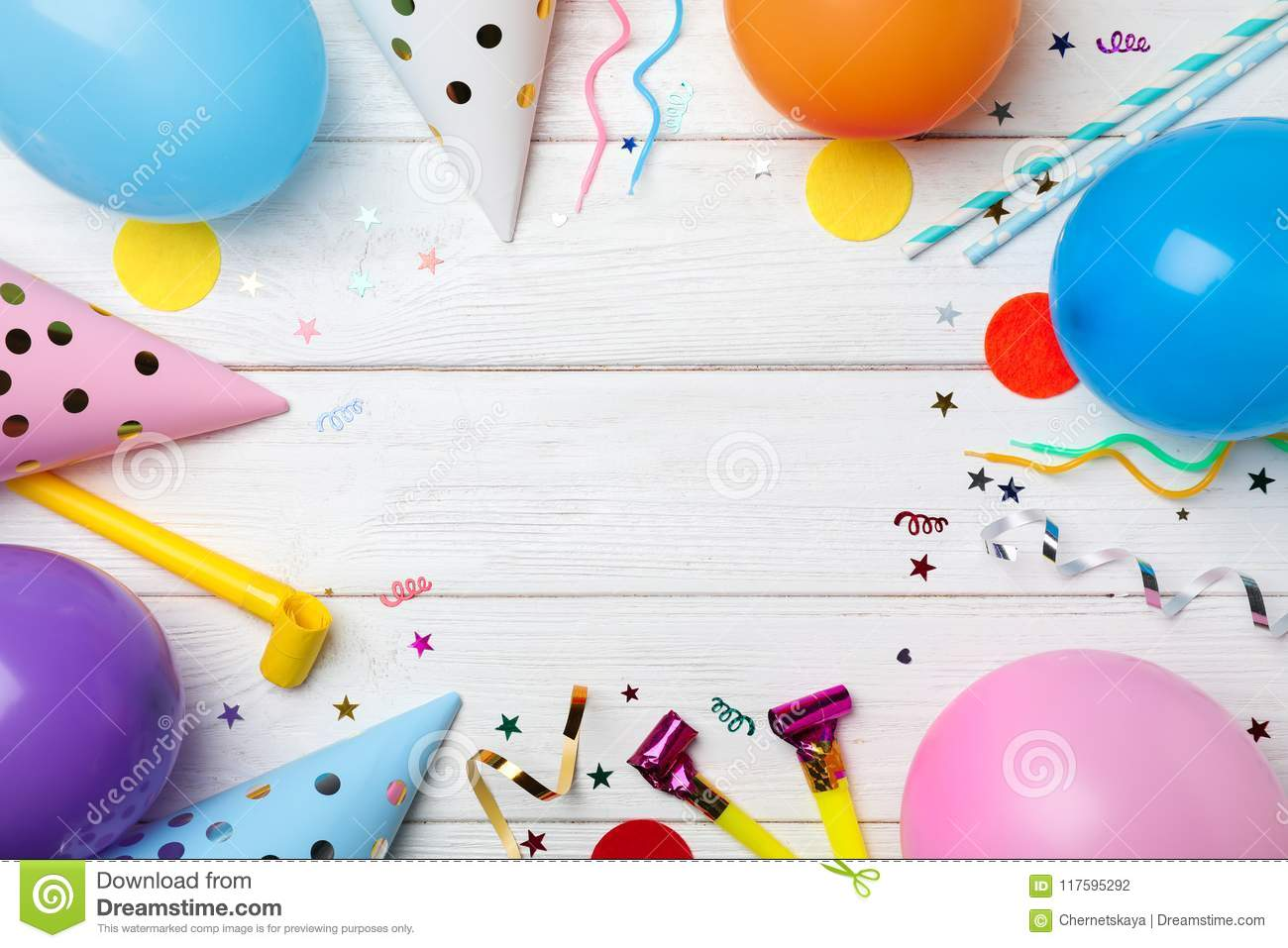 Flat Lay Composition With Birthday Party Items Stock Photo Image