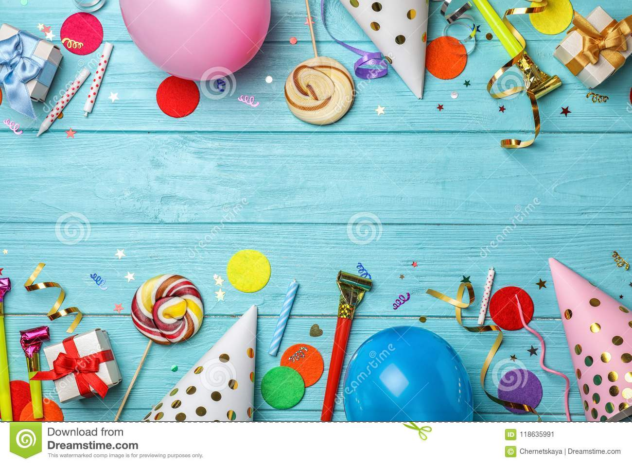 Flat Lay Composition With Birthday Party Items Stock Image Image