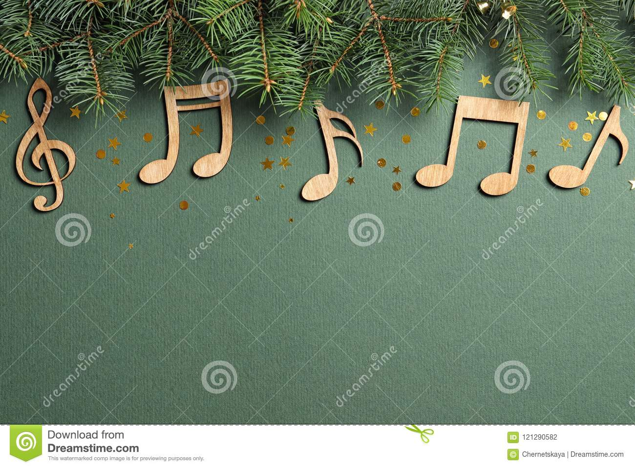 Christian Christmas Music.Flat Lay Composition With Fir Tree Branches Stock Photo