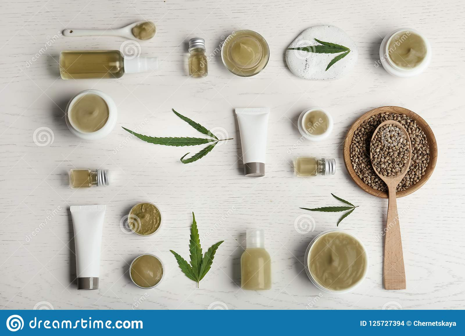 Flat lay composition with hemp lotion