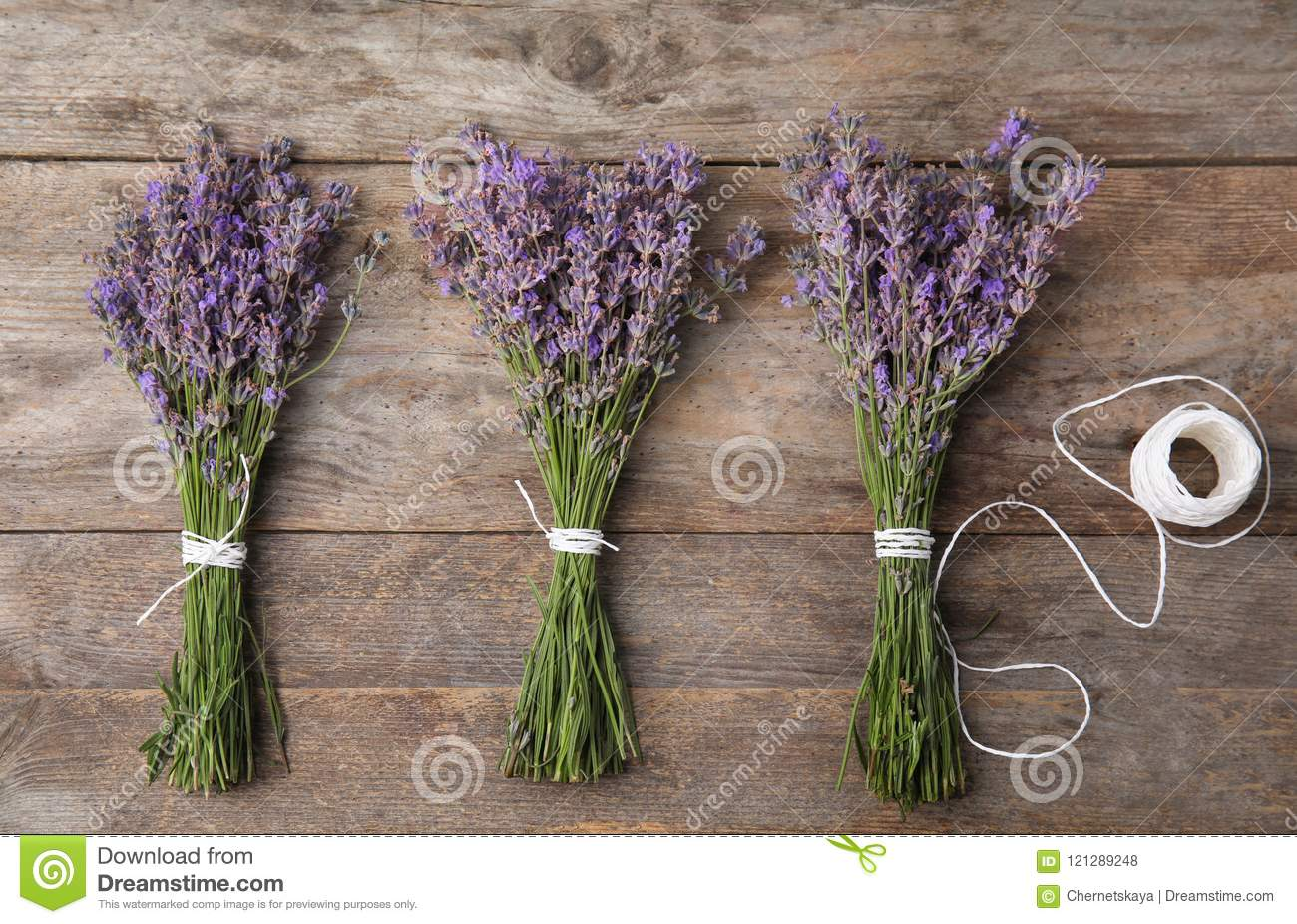 Flat lay composition with lavender flowers