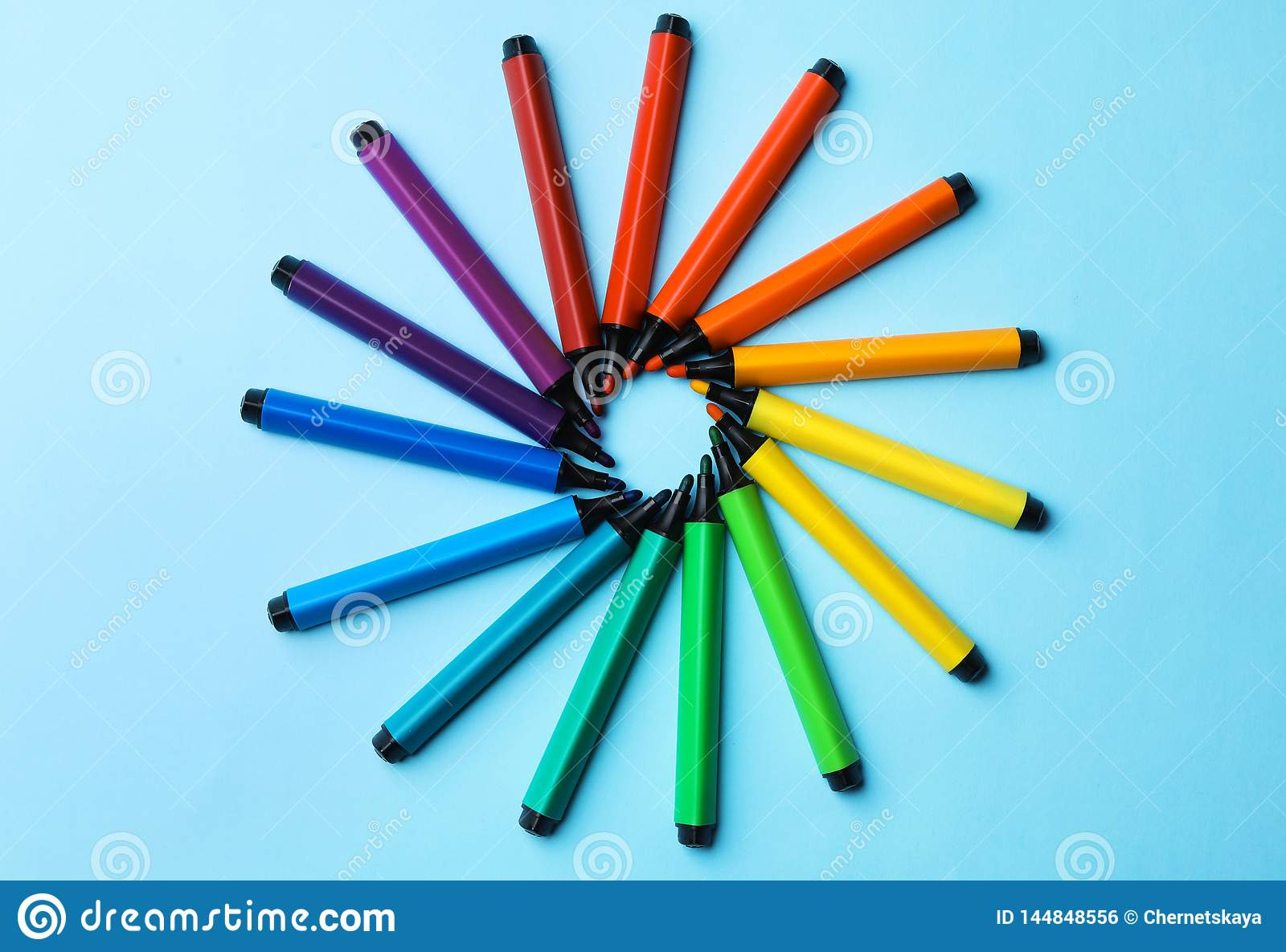 Flat Lay Composition With Markers On Color Background. Stock ...